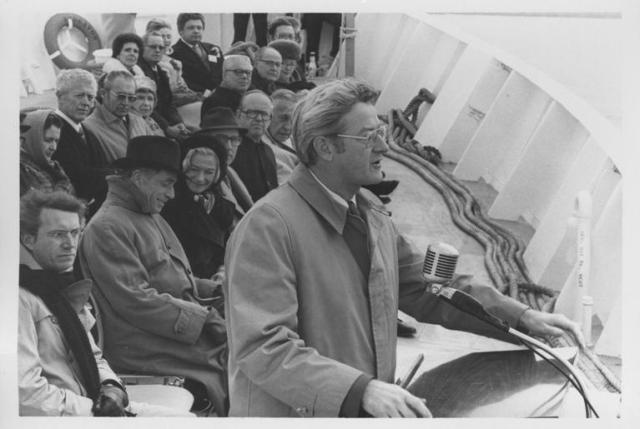 Garrahy on a boat