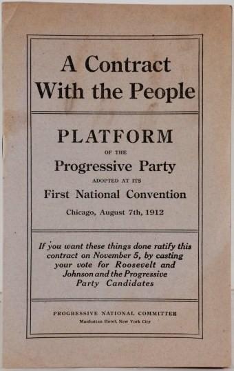 Pamphlet version of the 1912 Progressive Party platform