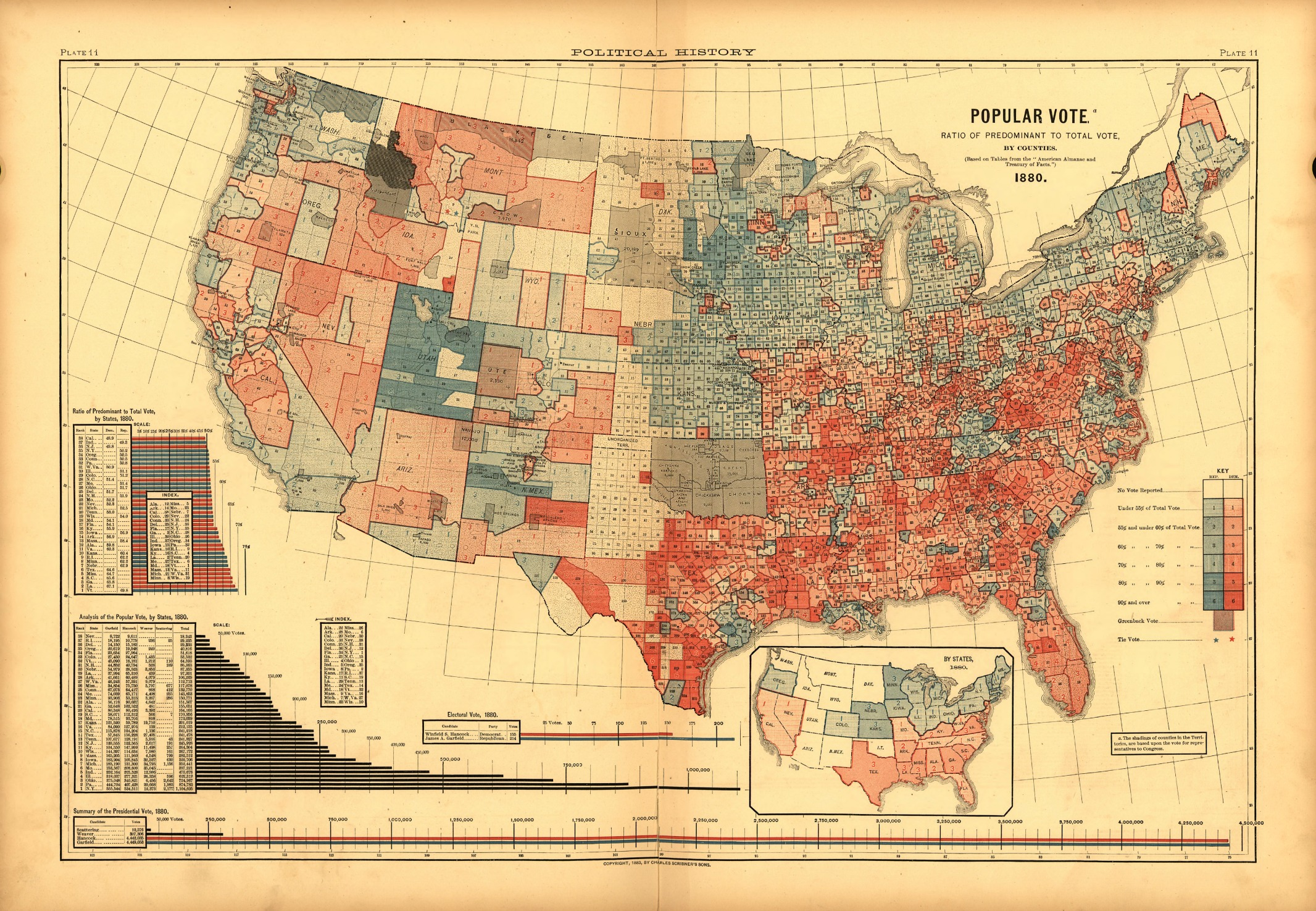 Scribners 1880 Popular Vote Map