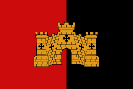 Flag of Exeter Arms Vertical